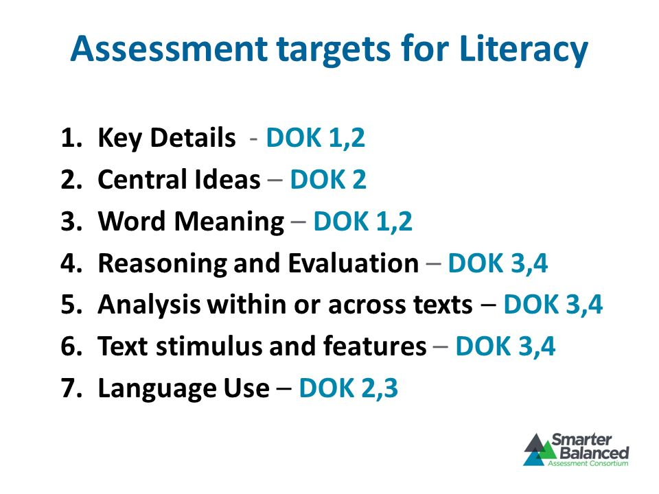 Assessment targets for Literacy