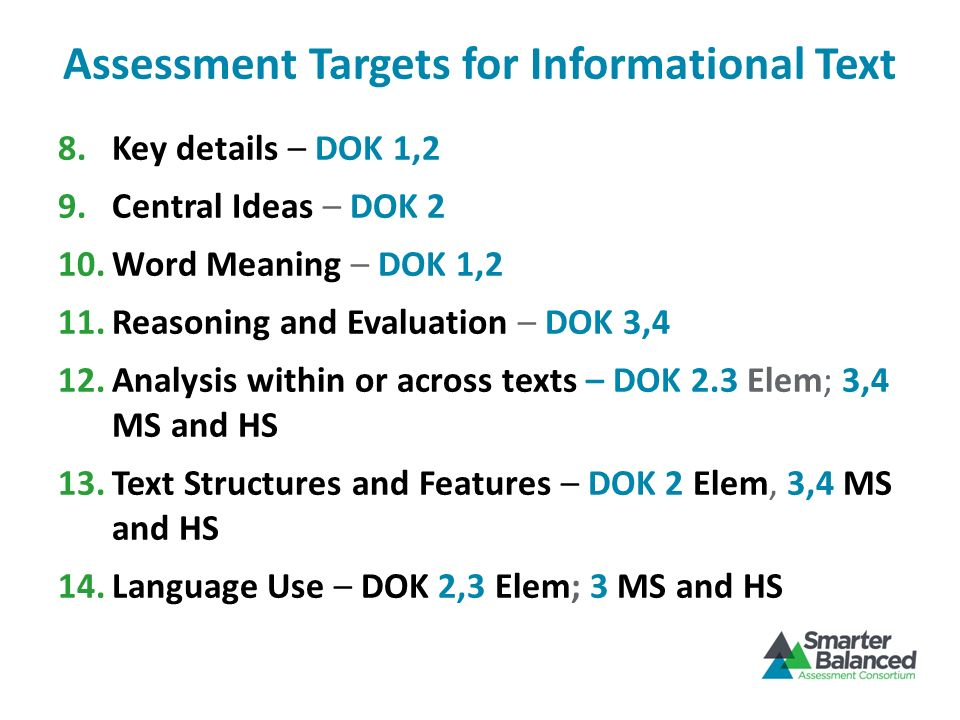 Assessment Targets for Informational Text