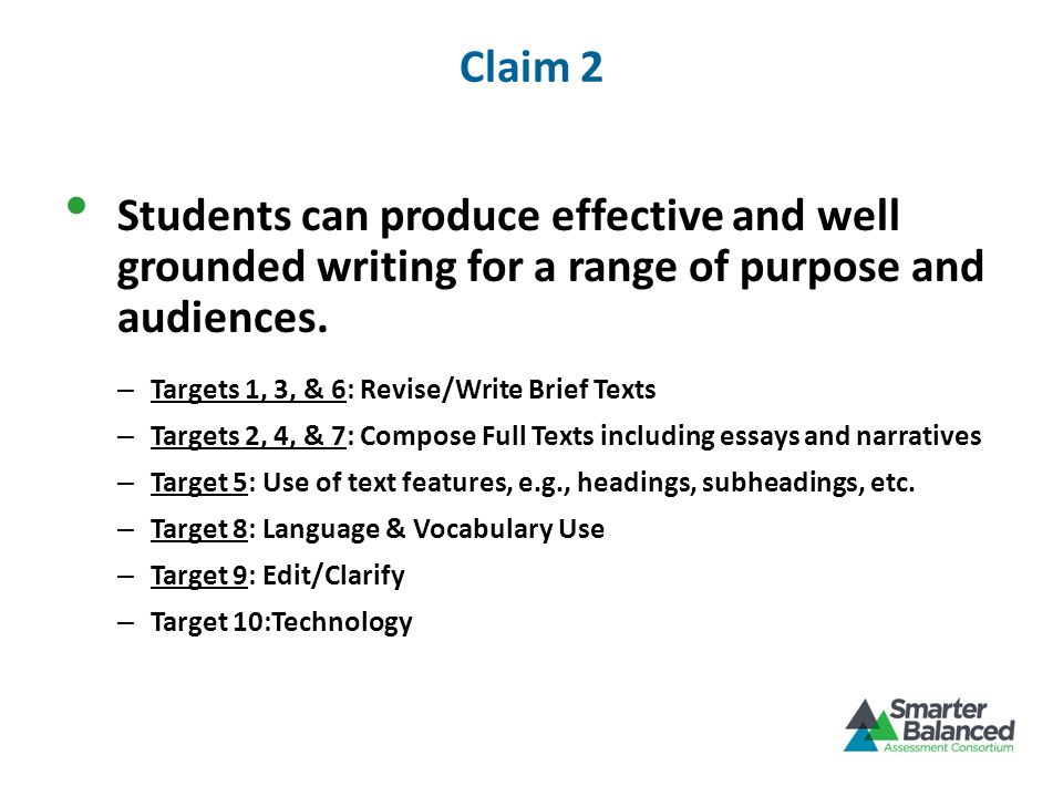 Claim 2 Students can produce effective and well grounded writing for a range of purpose and audiences.