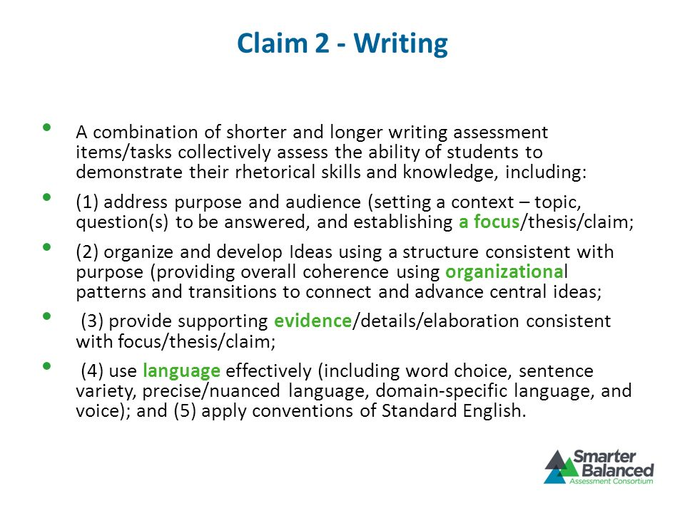 Claim 2 - Writing