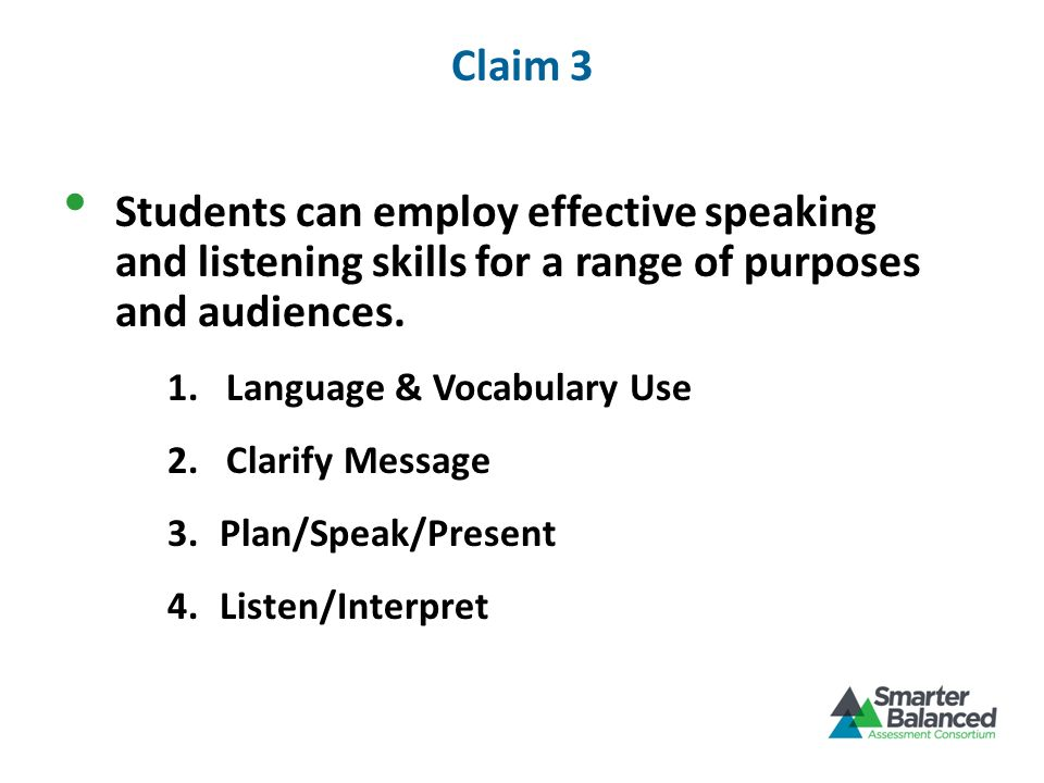 Claim 3 Students can employ effective speaking and listening skills for a range of purposes and audiences.