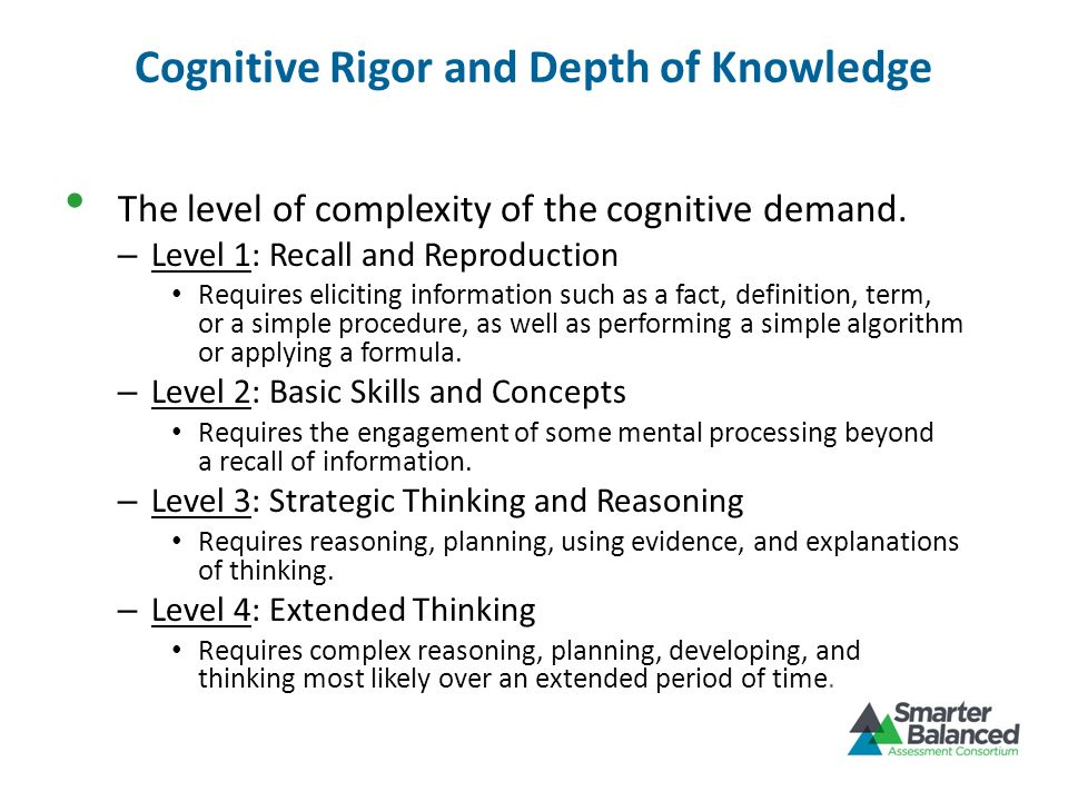 Cognitive Rigor and Depth of Knowledge