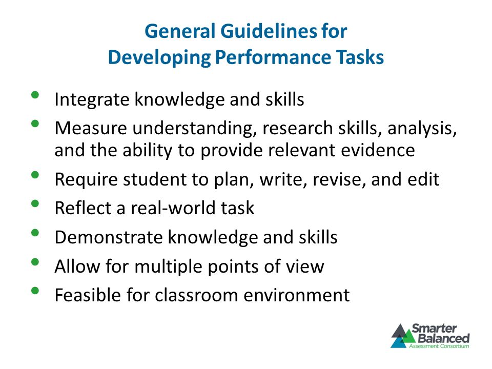 General Guidelines for Developing Performance Tasks