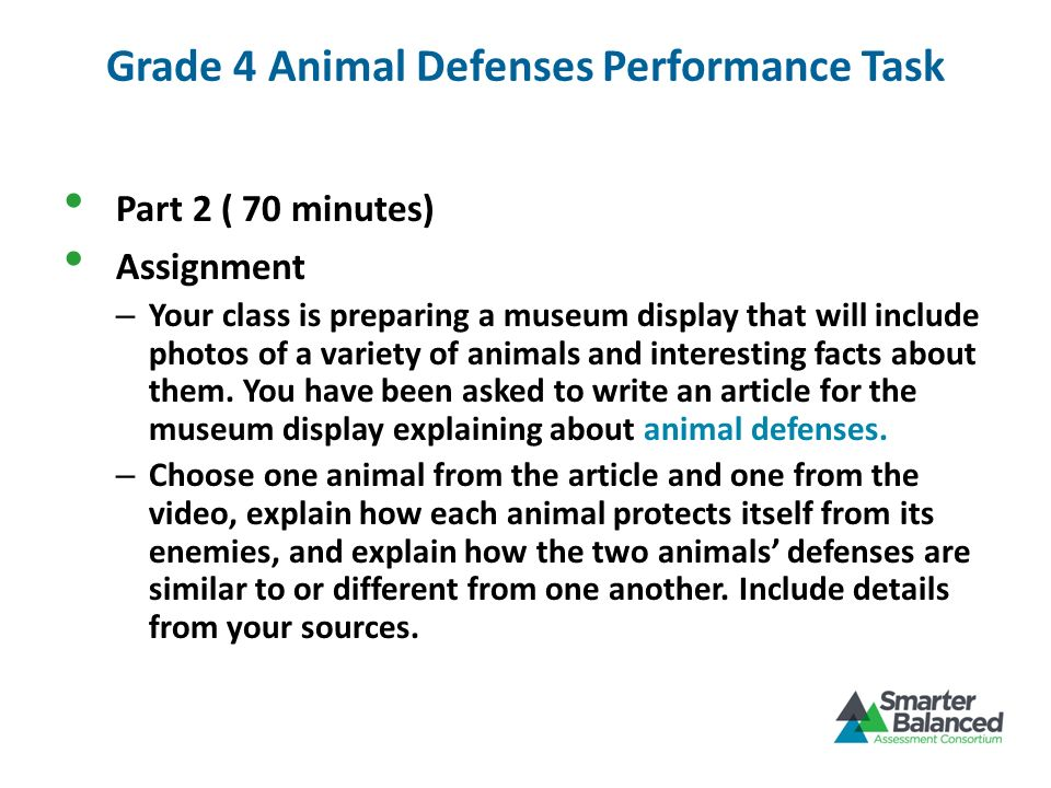 Grade 4 Animal Defenses Performance Task