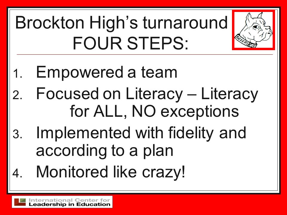 Brockton High's turnaround FOUR STEPS: