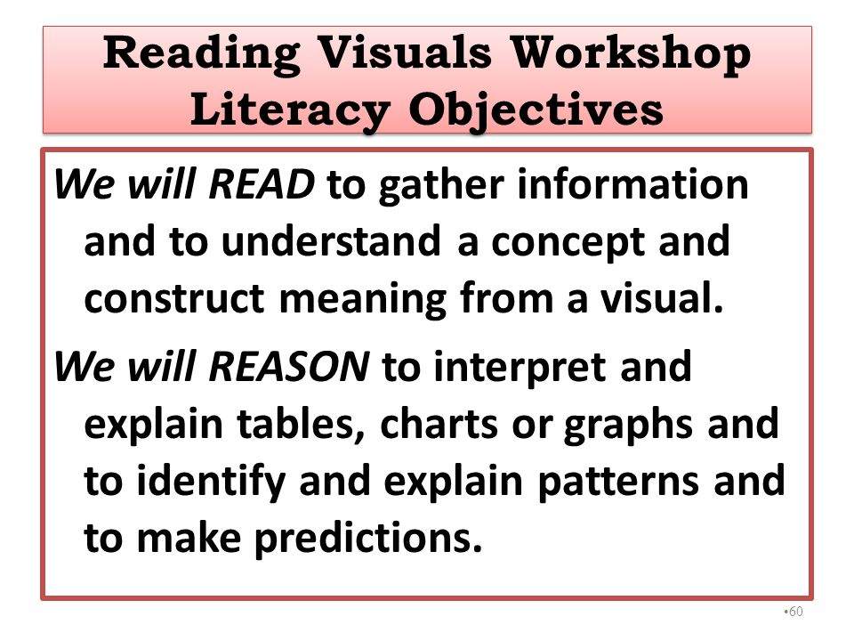 Reading Visuals Workshop Literacy Objectives
