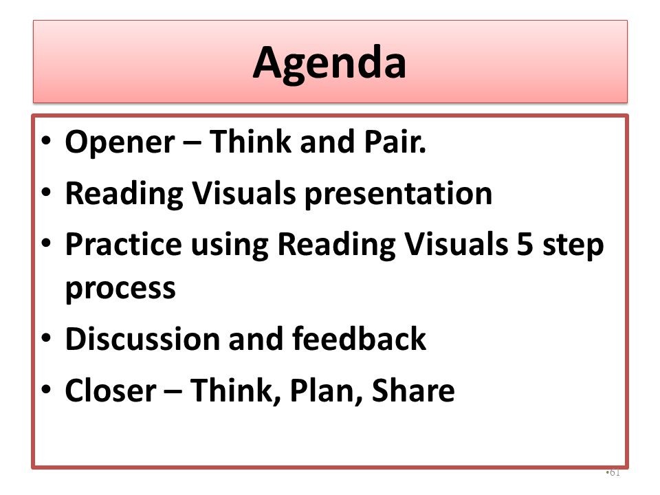 Agenda Opener – Think and Pair. Reading Visuals presentation