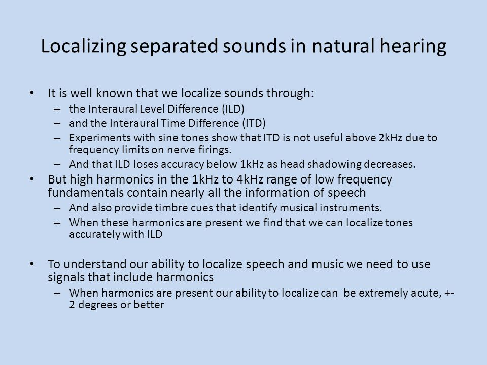 Localizing separated sounds in natural hearing