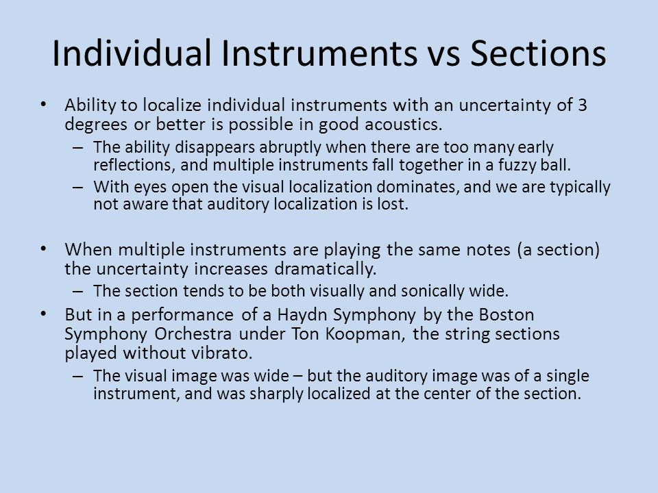 Individual Instruments vs Sections