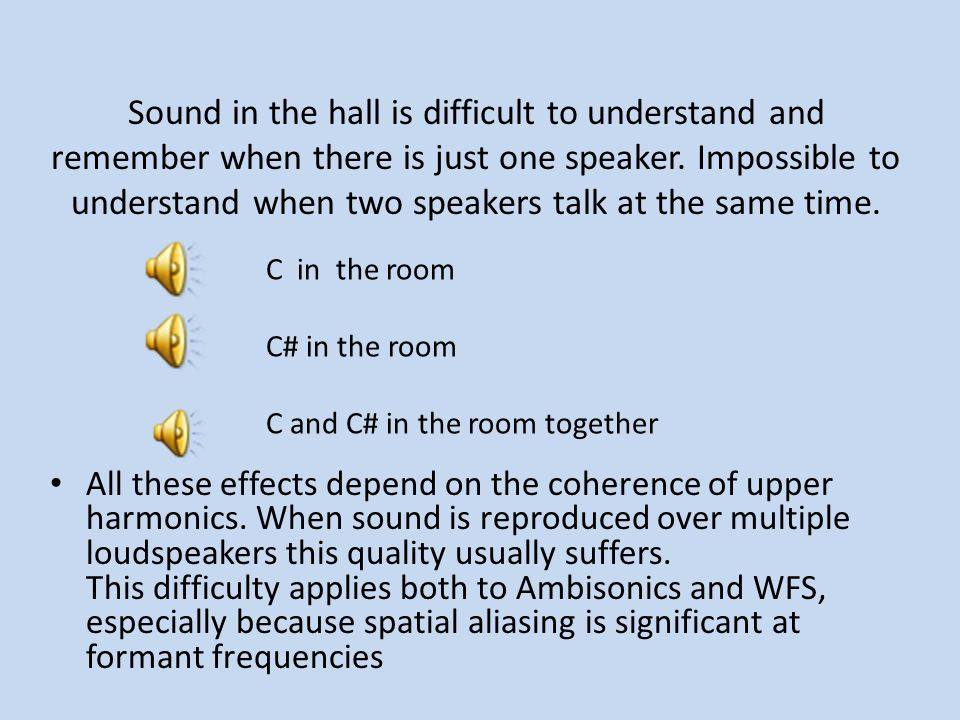 Sound in the hall is difficult to understand and remember when there is just one speaker. Impossible to understand when two speakers talk at the same time.