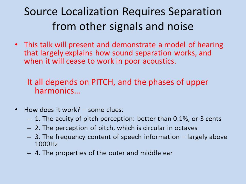 Source Localization Requires Separation from other signals and noise