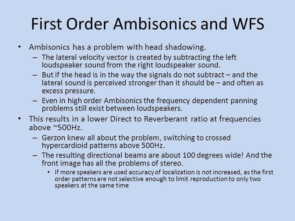 First Order Ambisonics and WFS