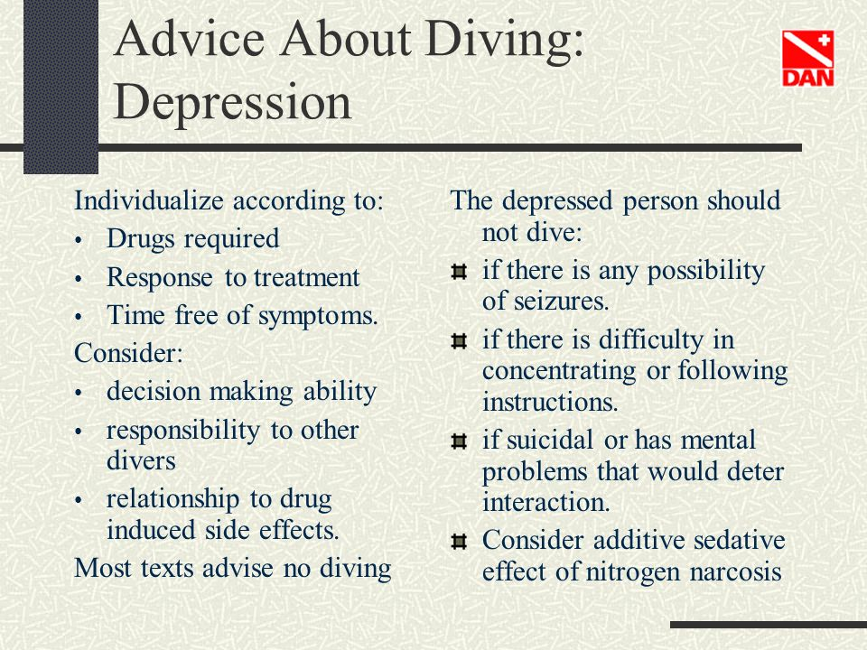 Advice About Diving: Depression