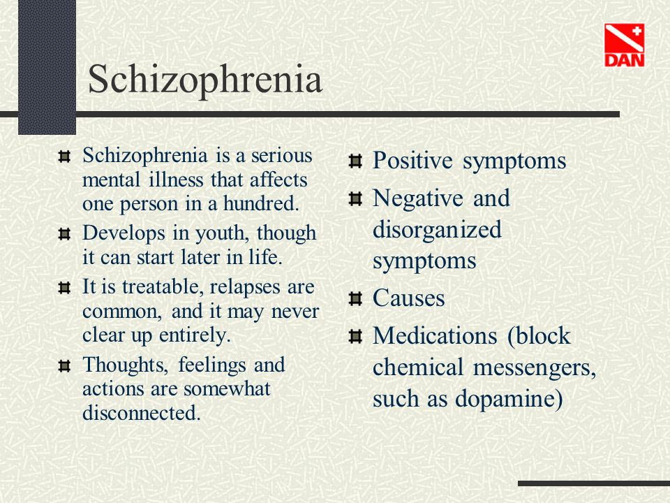 Schizophrenia Positive symptoms Negative and disorganized symptoms