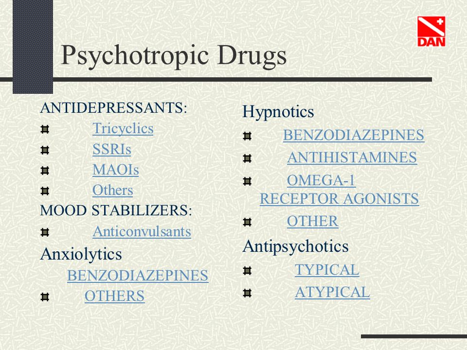 Psychotropic Drugs Hypnotics Antipsychotics Anxiolytics