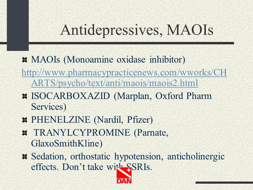 Antidepressives, MAOIs