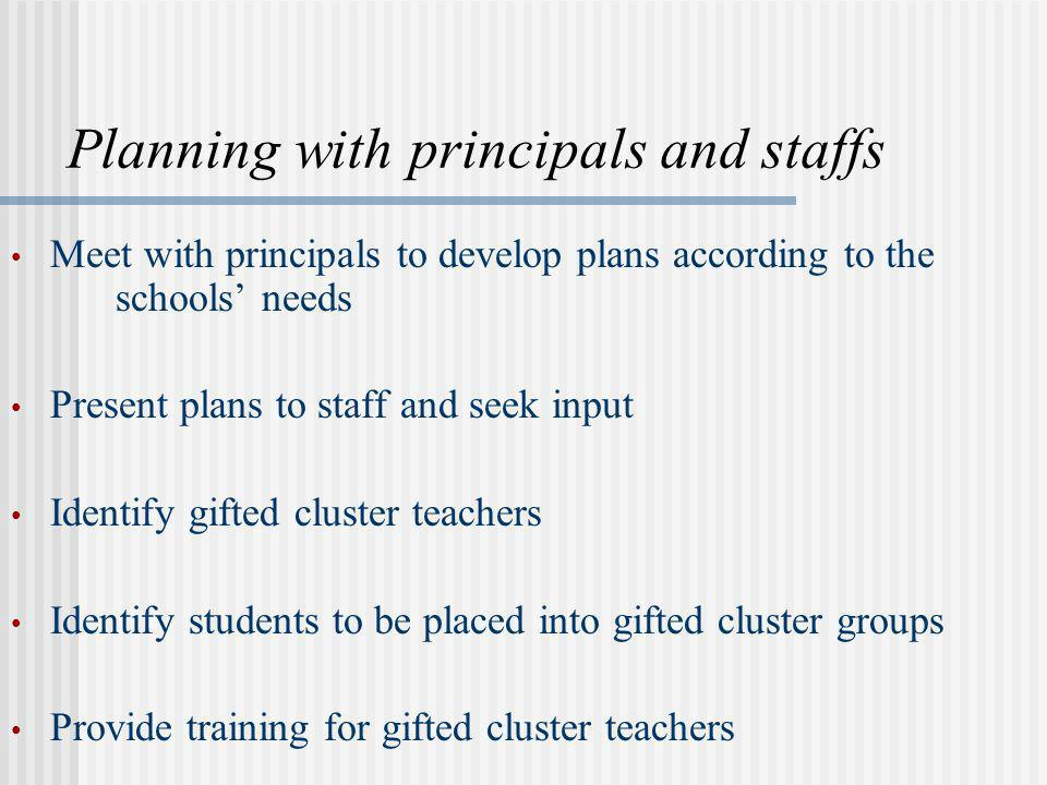 Planning with principals and staffs