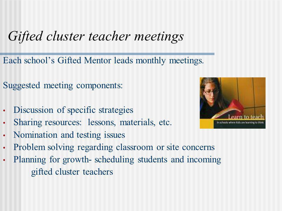Gifted cluster teacher meetings