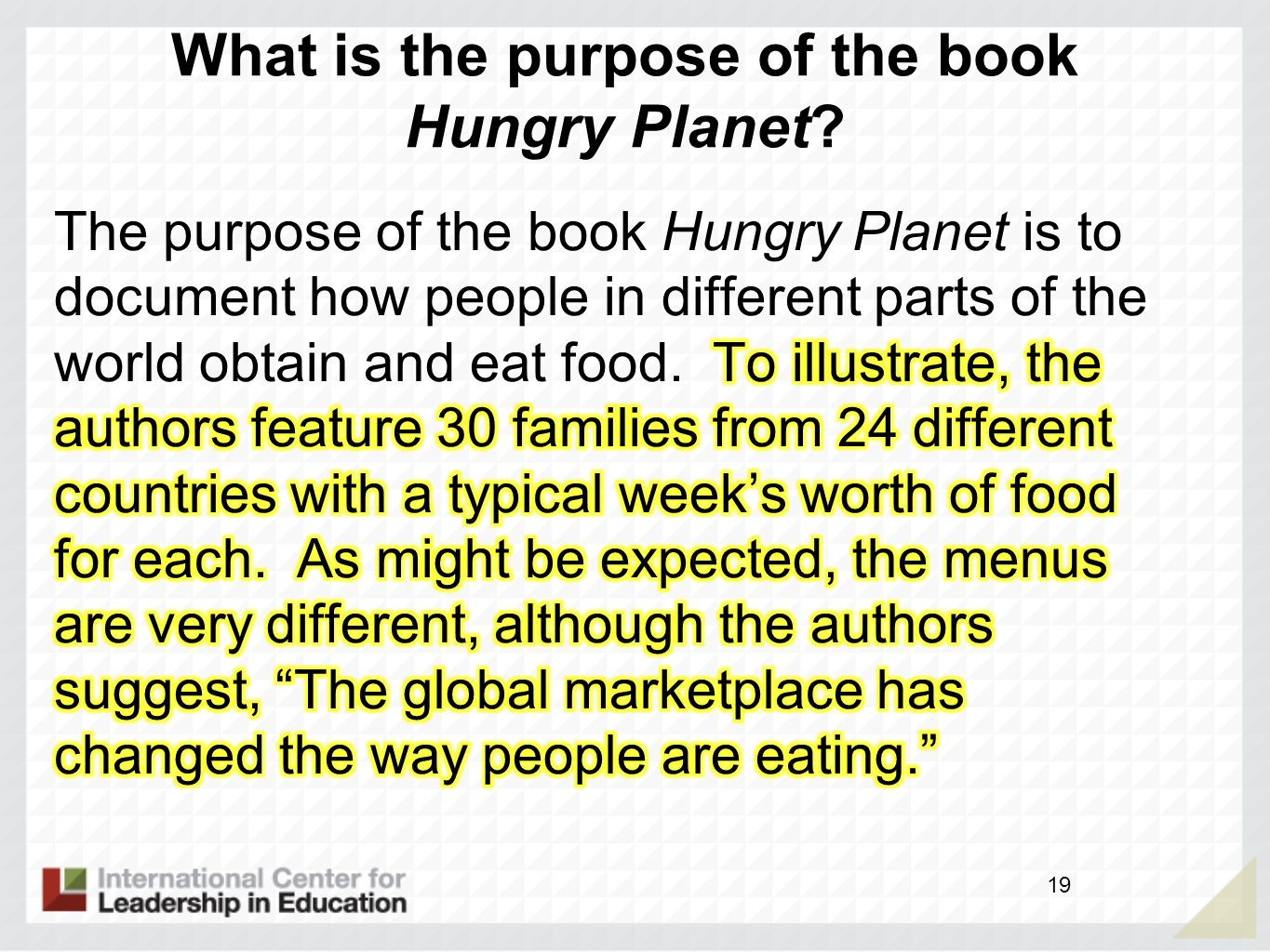 What is the purpose of the book Hungry Planet