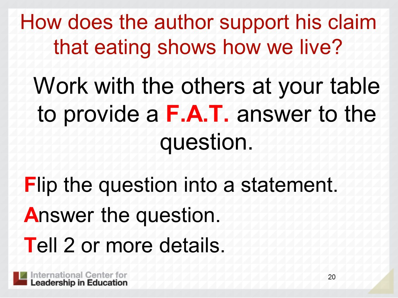 How does the author support his claim that eating shows how we live
