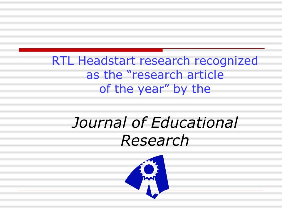 RTL Headstart research recognized as the research article of the year by the Journal of Educational Research