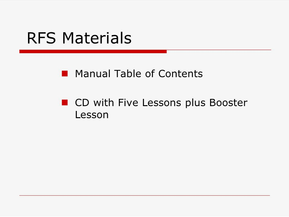 RFS Materials Manual Table of Contents