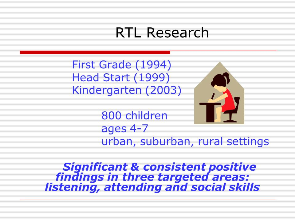 RTL Research First Grade (1994) Head Start (1999) Kindergarten (2003)