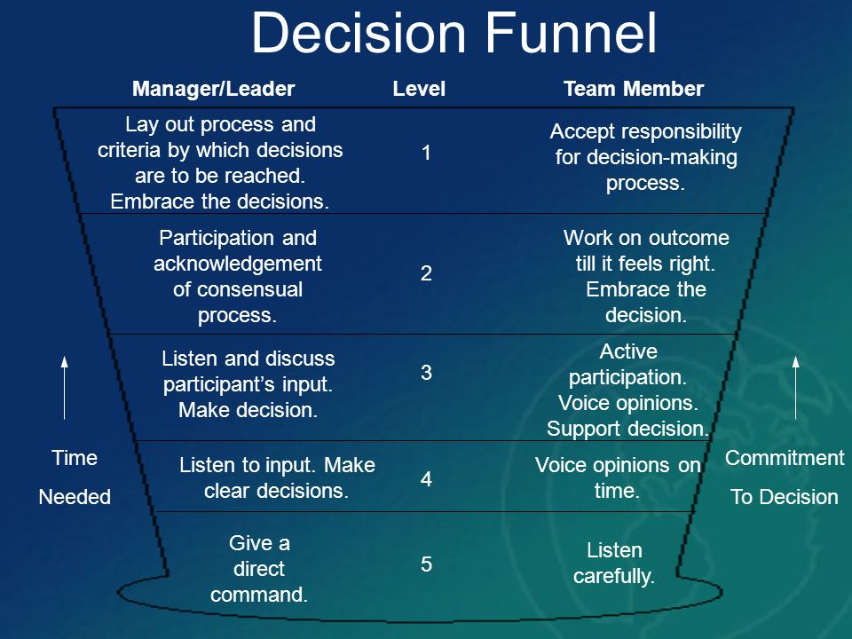 Decision Funnel Manager/Leader Level Team Member