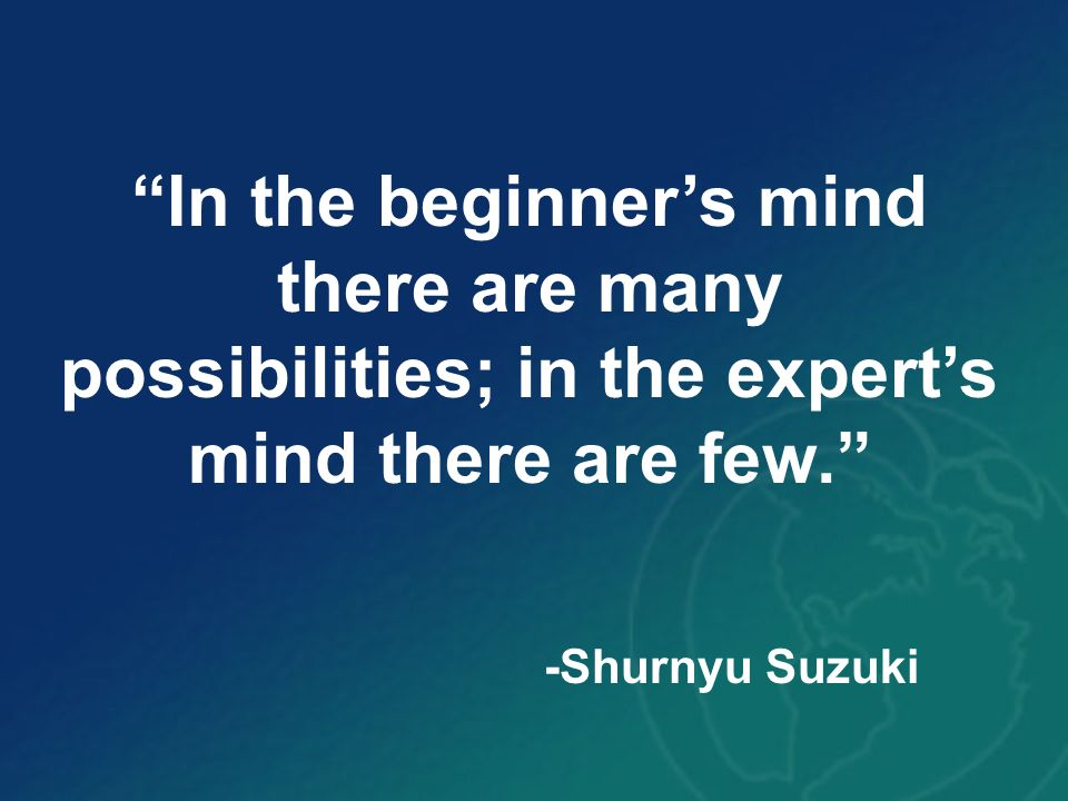In the beginner's mind there are many possibilities; in the expert's mind there are few.