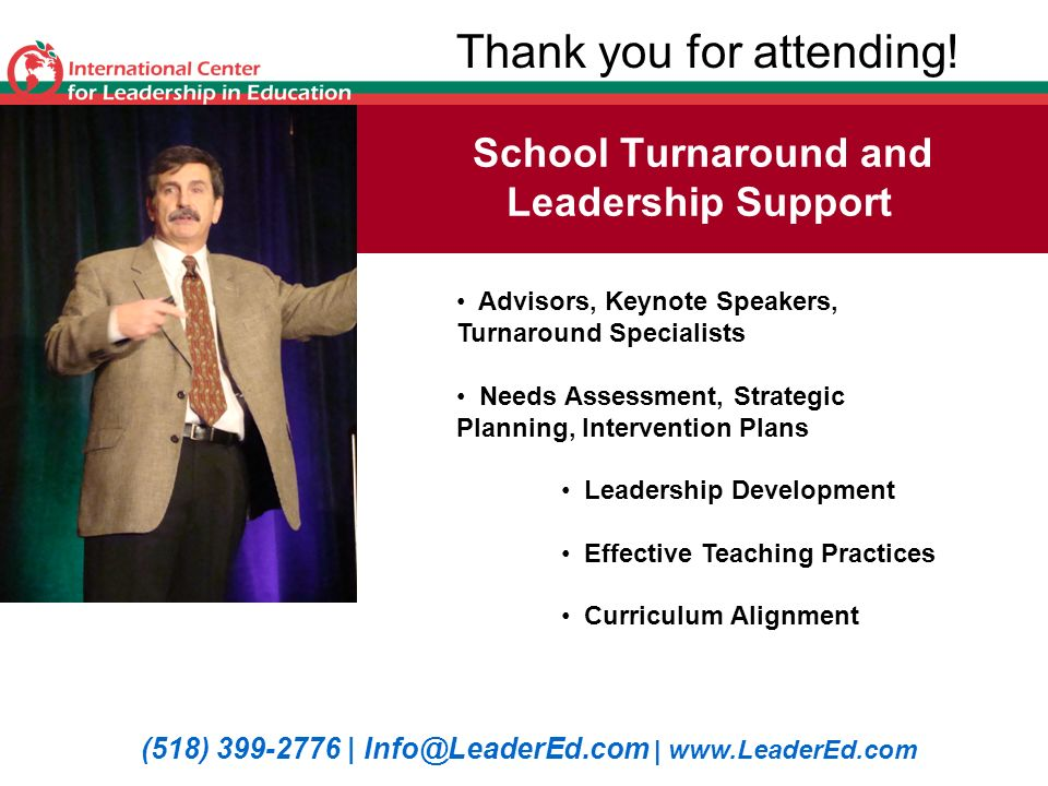 School Turnaround and Leadership Support