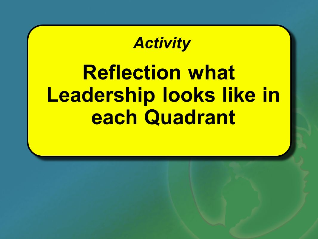 Reflection what Leadership looks like in each Quadrant