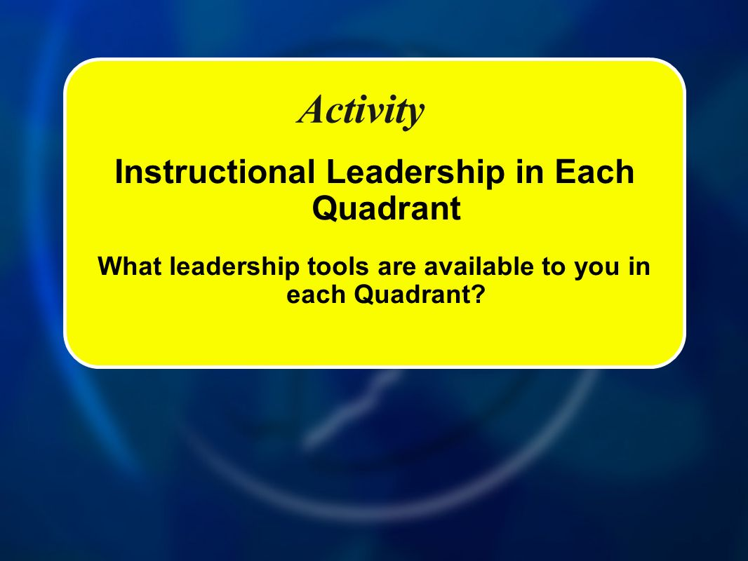 Activity Instructional Leadership in Each Quadrant