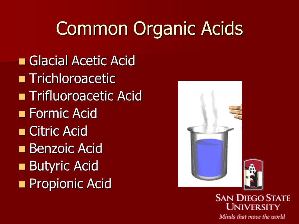 Common Organic Acids Glacial Acetic Acid Trichloroacetic