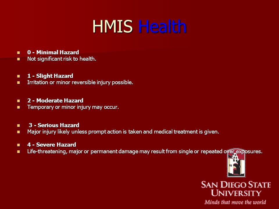 HMIS Health 0 - Minimal Hazard Not significant risk to health.