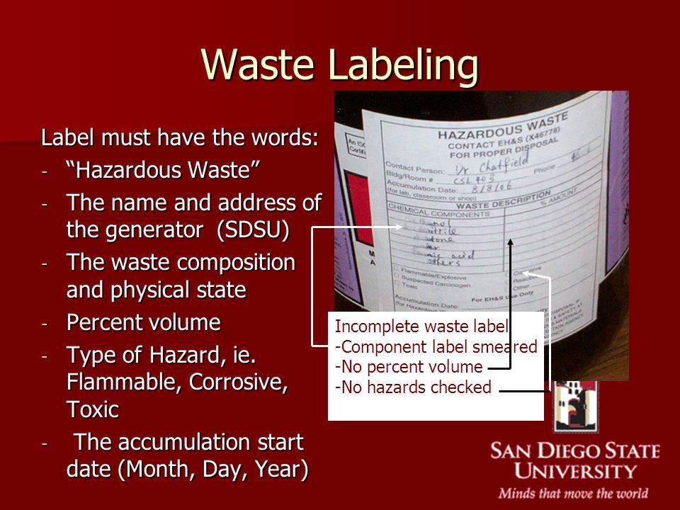 Waste Labeling Label must have the words: Hazardous Waste