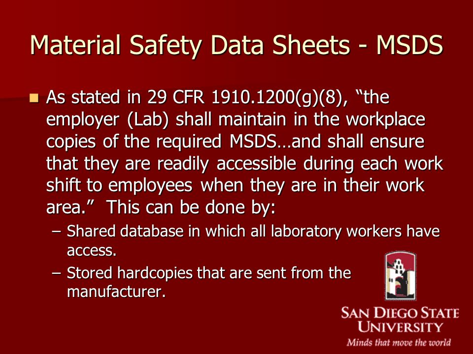 Material Safety Data Sheets - MSDS
