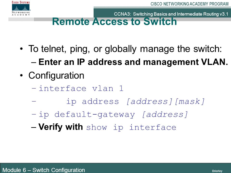 Starting the switch Configuring the Switch - ppt video online download