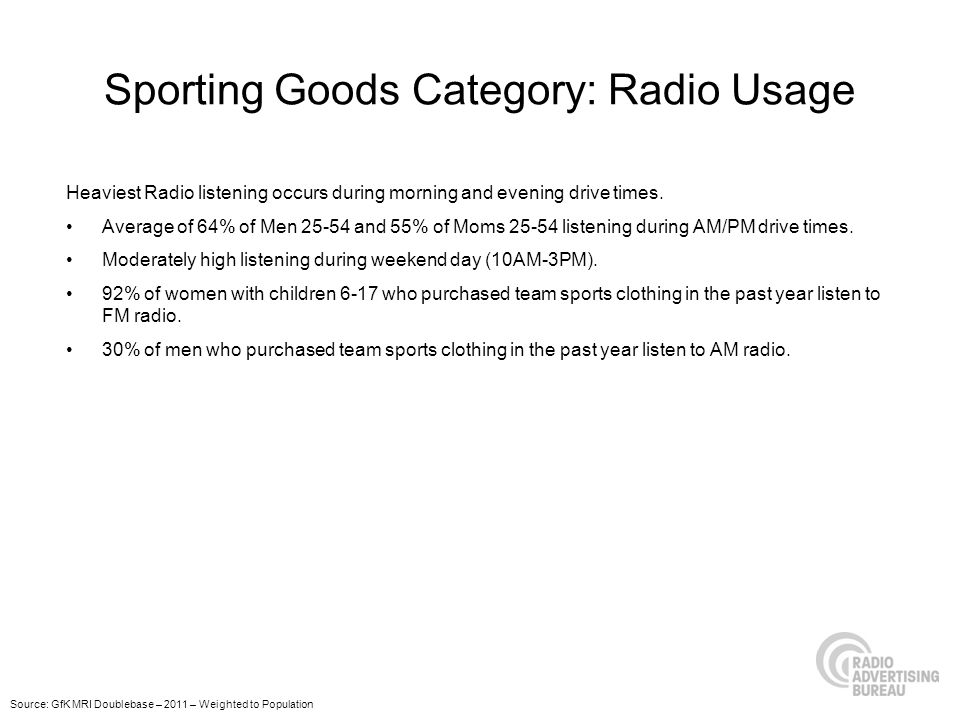 Sporting Goods Category: Radio Usage