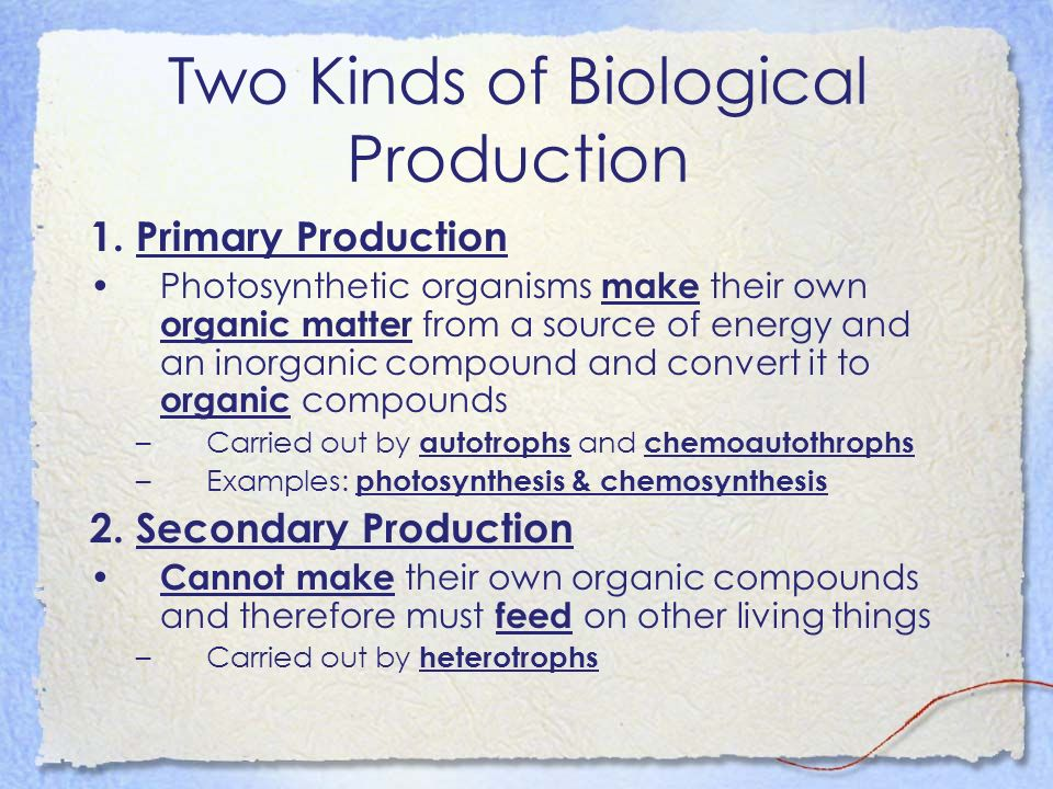Two Kinds of Biological Production