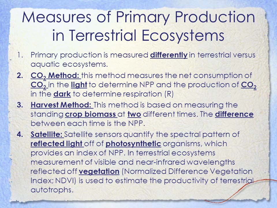 Measures of Primary Production in Terrestrial Ecosystems