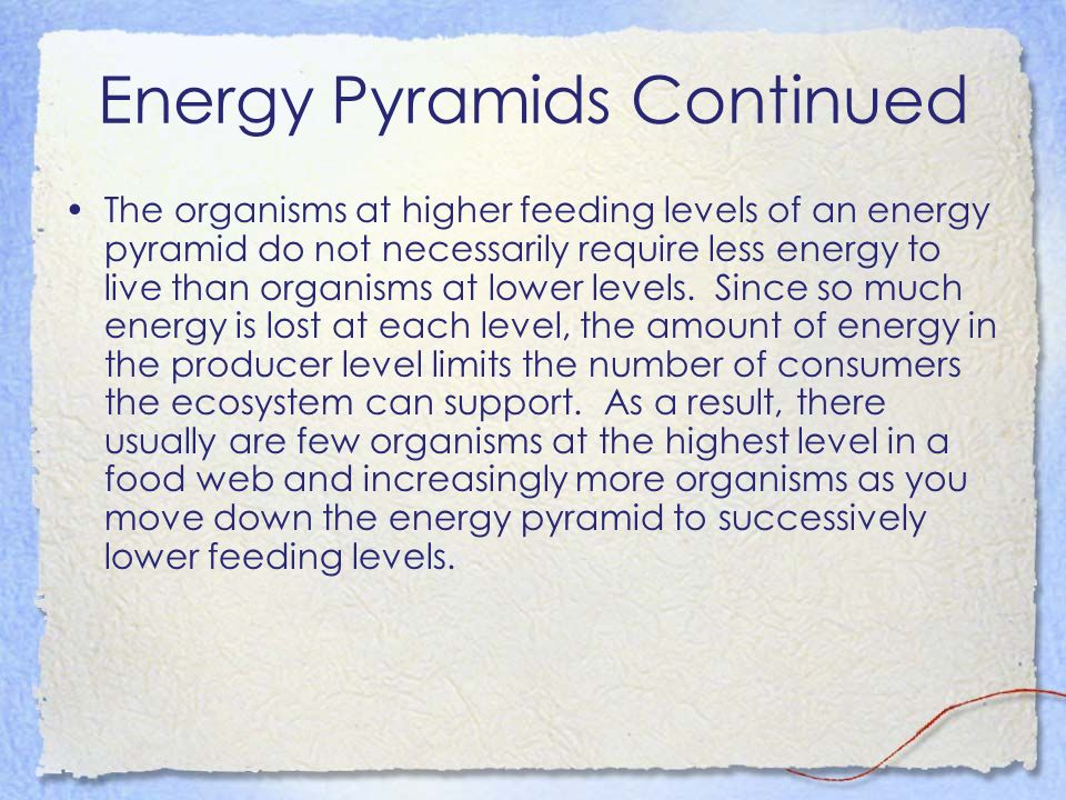 Energy Pyramids Continued