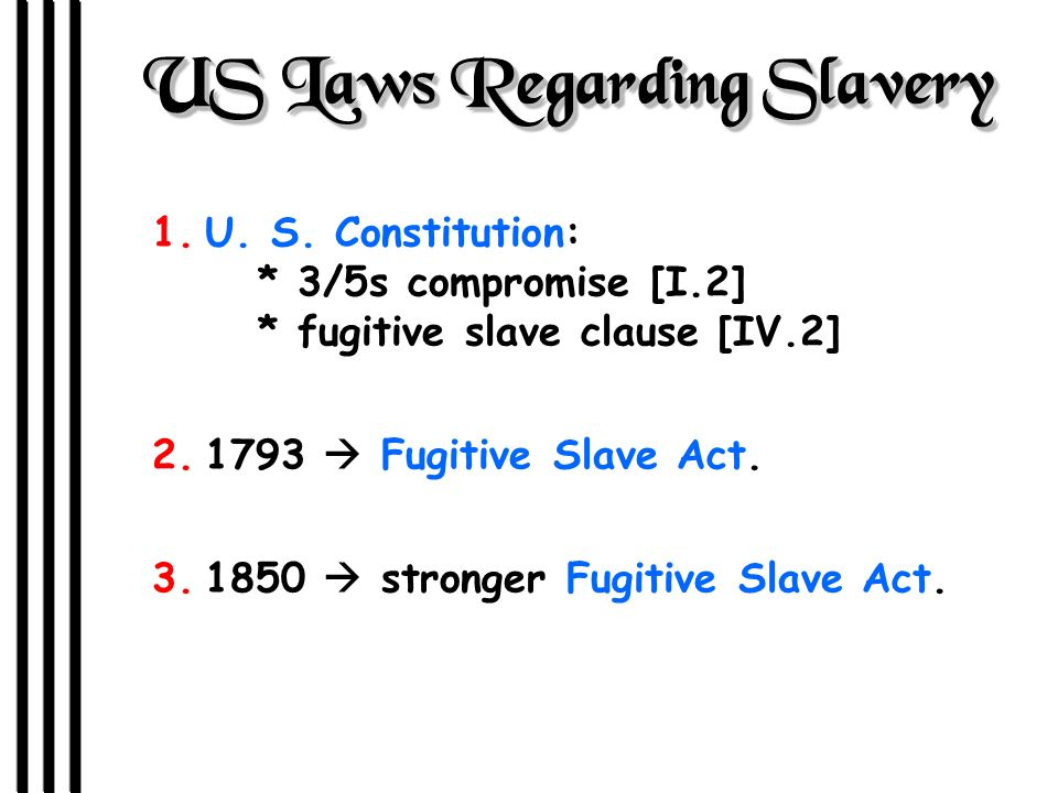 US Laws Regarding Slavery