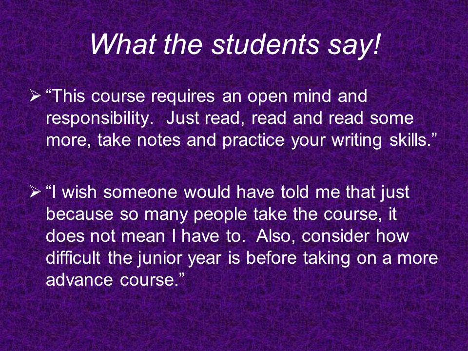 What the students say!
