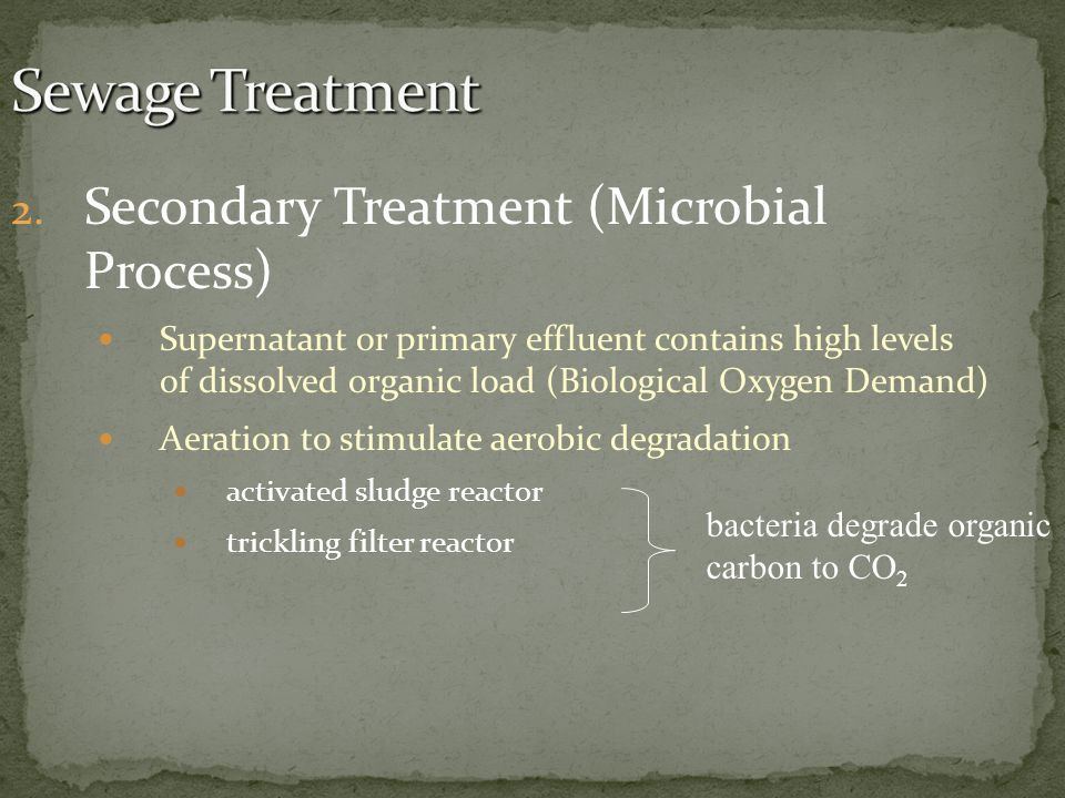 Sewage Treatment Secondary Treatment (Microbial Process)