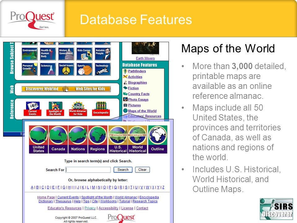 Database Features Maps of the World