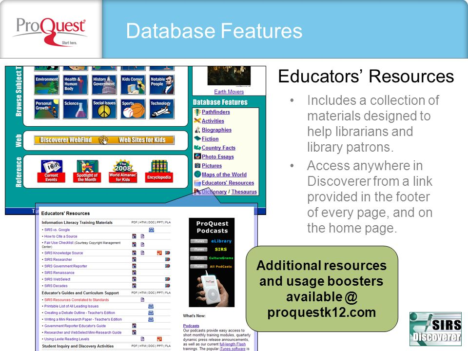 Additional resources and usage boosters available @ proquestk12.com