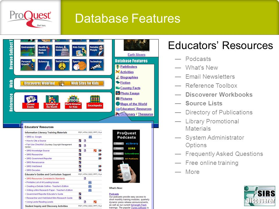 Database Features Educators' Resources Podcasts What s New