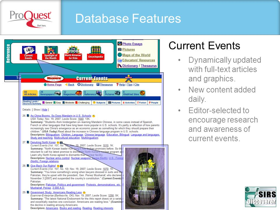 Database Features Current Events