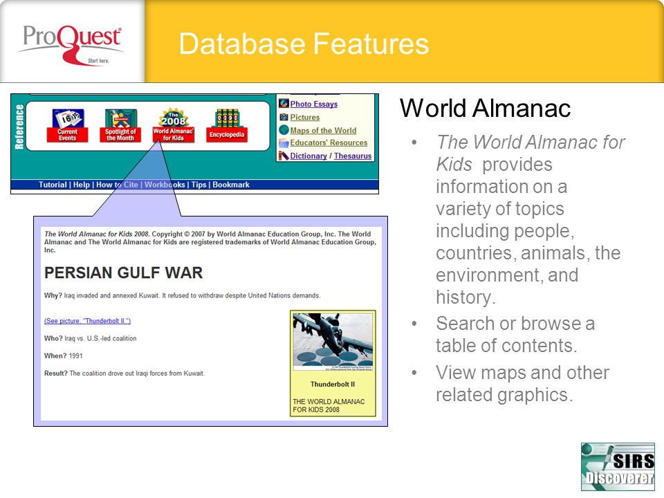 Database Features World Almanac