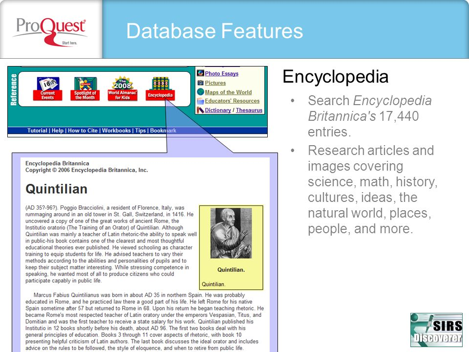 Database Features Encyclopedia